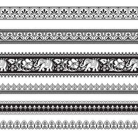 Seamless black and white borders with tribal style elephants and flowers. Thai, Indian, African symbol. Pattern brushes included in vector file.