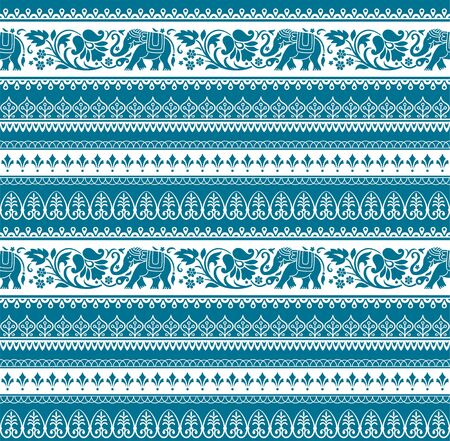 Seamless pattern with tribal style elephants and flowers. Thai, Indian, African symbol. Blue and white colors. Swatches included in vector file.