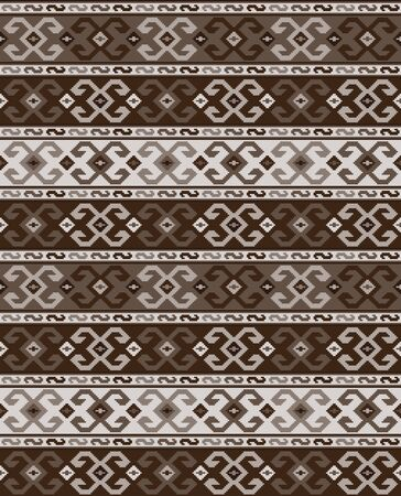 Seamless geometric pattern, Georgian ethnic pattern. Brown colors, embroidery style. Swatch included in vector file. Ilustração