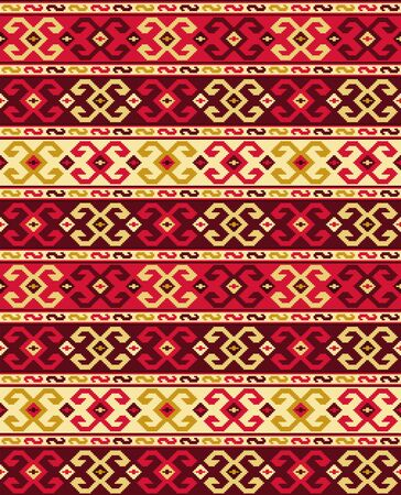 Seamless geometric pattern, Georgian ethnic pattern with bright saturated colors. Embroidery style. Swatch included in vector file. Ilustração