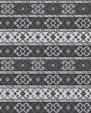 Seamless geometric pattern, Georgian ethnic pattern. Gray colors, embroidery style. Swatch included in vector file. Ilustração
