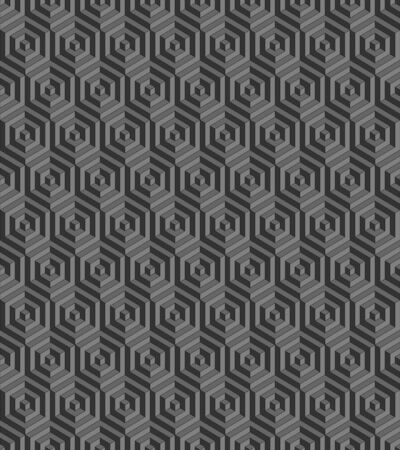 Seamless geometric pattern formed of gray hexagons. 3D imitation. Swatch is included in vector file.