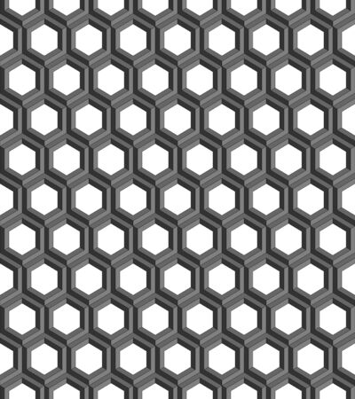 Seamless geometric pattern formed of gray hexagons. 3D imitation. Transparent background. Swatch is included in vector file.