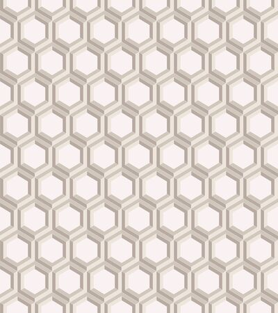 Seamless geometric pattern formed of beige hexagons. 3D imitation. Swatch is included in vector file.