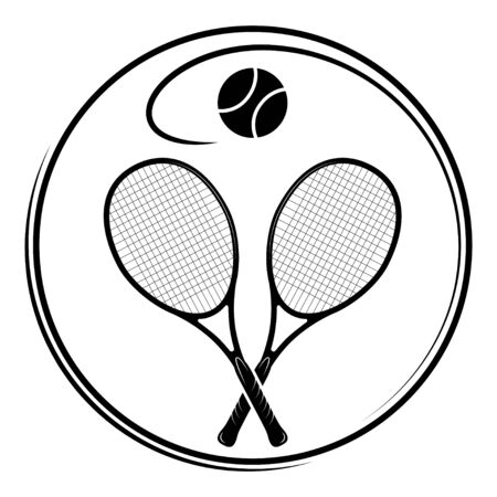 Emblem with tennis racquets and a ball in a circle. Black color.