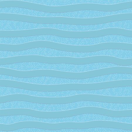 Seamless pattern with blue wavy stripes and glitters.