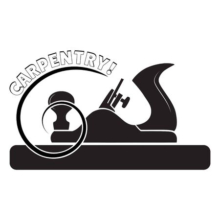 Black and white icon with block plane and lettering Carpentry. For advertisement of construction works and carpentry.