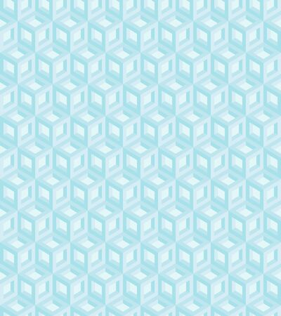 Seamless geometric pattern formed of blue cubes. 3D imitation. Swatch is included in vector file. Ilustração