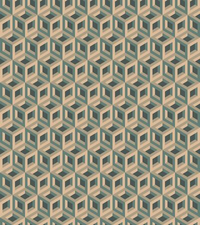 Seamless geometric pattern formed of metallic cubes. 3D imitation. Swatch is included in vector file.