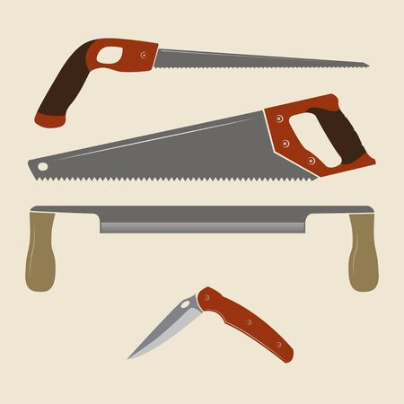 Construction tools icons. Keyhole saw, handsaw, drawknife and folding knife.