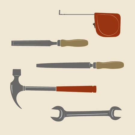 Construction tools icons. Roulette, chisel, file tool, wrench, hammer. Ilustração