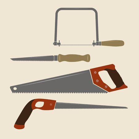 Icons of different carpentry saws. Coping saw, drywall saw, handsaw, keyhole saw.