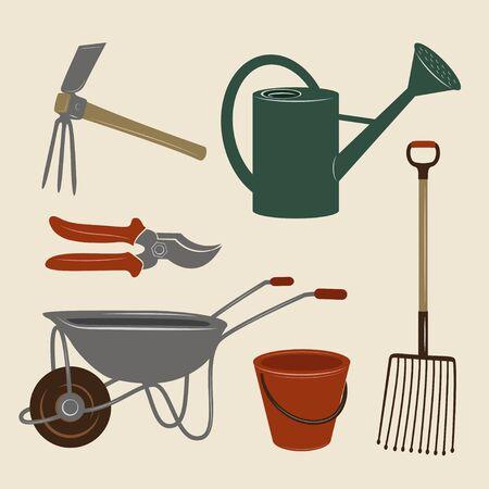 Illustrations en couleur d'outils de jardin : coupe-jardin, fourchette à pommes de terre, seau, arrosoir et brouette.