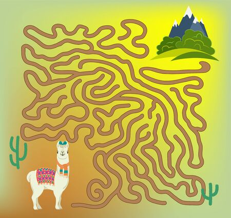 Maze game for kids and adults. Help cute llama to get to green meadows with his favorite bushes. Ilustração