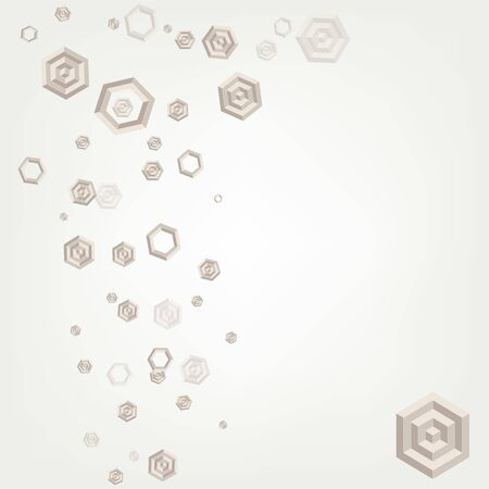 Abstract background formed of beige hexagons. Card, leaflet, slide show.