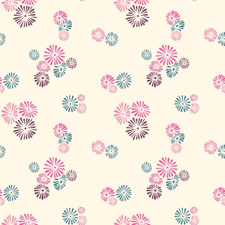 Seamless pattern with abstract flowers. Swatches included in EPS file.