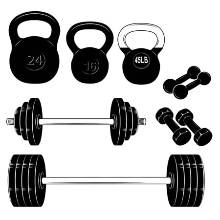Set of sports equipment. Black and white sketches of dumbbells, kettlebells and barbells. Иллюстрация