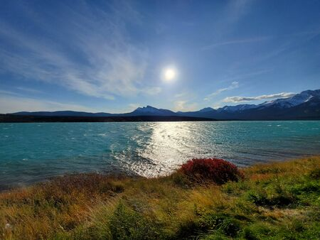 Scenic views of Alberta, Canada. Rocky Mountain foothills and peaks. Abraham Lake. October