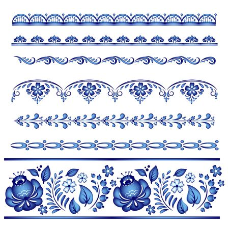 Painted floral borders. Style of Gzhel, Russian traditional folk craft.
