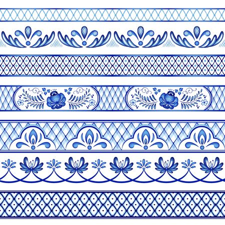 Painted floral seamless borders. Style Gzhel, Russian traditional folk craft.