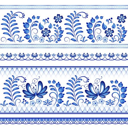 Painted floral borders. Style Gzhel, Russian traditional folk craft.