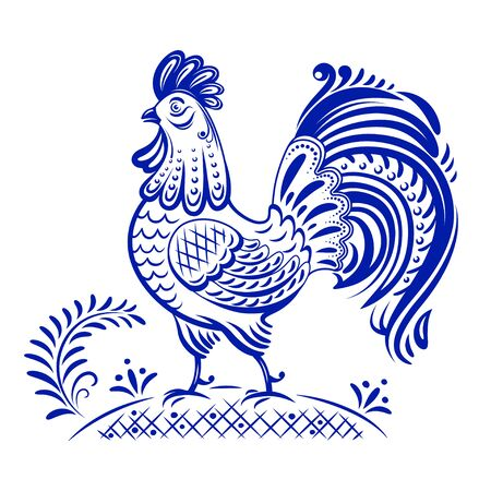 Decorative blue and white rooster, Gzhel style.