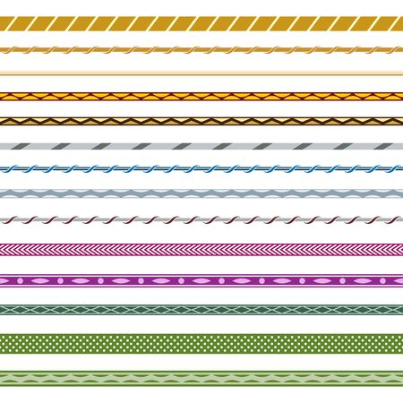 Set of seamless pattern brushes. Various colors, geometric and optical illusion style. Çizim