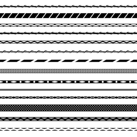 Set of seamless pattern brushes. Black and white colors.