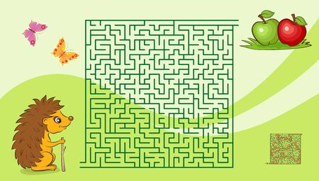 Maze game for kids with a hedgehog and apples. Solution is included.