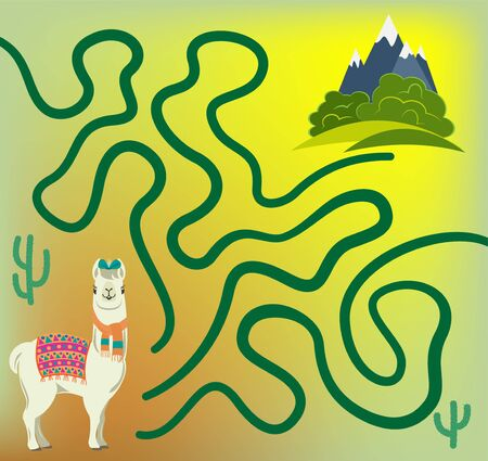 Maze game for kids. Help cute llama to get to green meadows with his favorite bushes. Çizim