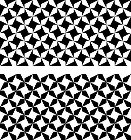 Seamless black and white geometric patterns. Optical illusion. Appropriate for textile, packing materials, website background. Swatches are included