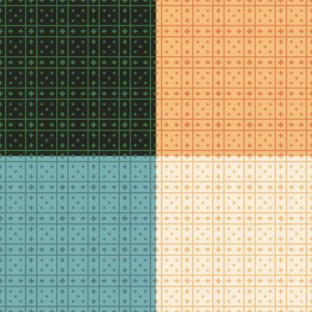 Seamless geometric patterns, traditional colors. Appropriate for fabric materials, packing materials, websites. Samples are added to swatches panel.