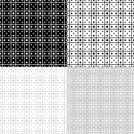 Seamless geometric black, white and gray patterns, transparent background. Appropriate for fabric materials, packing materials, websites. Samples are added to swatches panel. Çizim