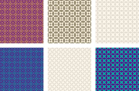 Seamless patterns, various colors. Appropriate for textile, packing materials, websites. Samples are added to swatches panel.