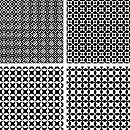 Seamless black patterns, transparent background. Appropriate for textile, packing materials, websites. Samples are added to swatches panel.