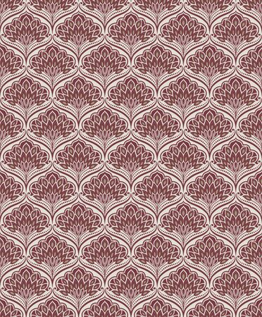 Seamless floral golden and ruby-red pattern, classic style. Appropriate for fabric materials, wallpaper, decoration. Sample is added to swatches panel. Çizim