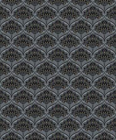 Seamless floral black and golden pattern, classic style. Appropriate for fabric materials, wallpaper. Sample is added to swatches panel.