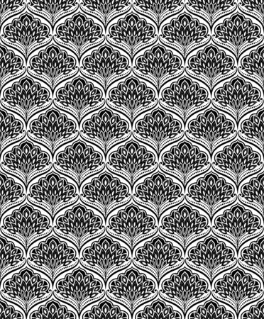 Seamless floral black and white pattern, classic style. Appropriate for fabric materials, wallpaper, decoration. Sample is added to swatches panel.