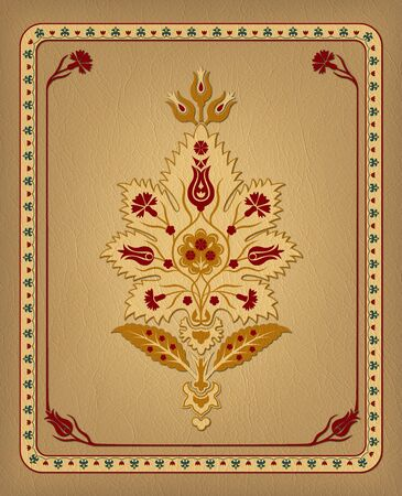 Illustration with various whimsical flowers. Suzani tribal style. Leather effect.