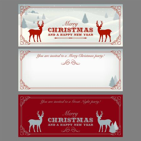 Christmas cards, party invitation with lettering and decorative elements. Both sides are given. Christmas holidays flyer or poster design.