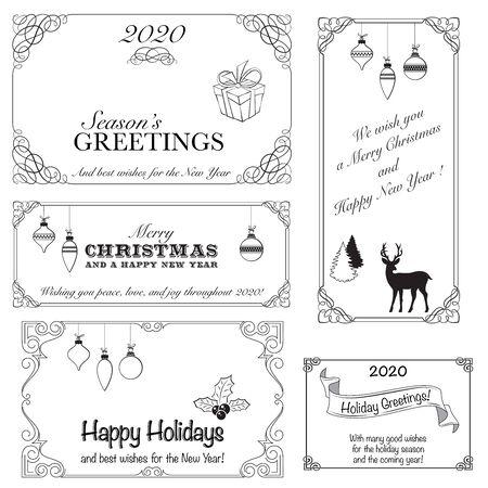 Set of ornate black frames. Vignettes, decorative lettering, Christmas elements and wishes. Çizim
