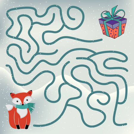 Maze game for kids. Help little cute fox to get to the present box.