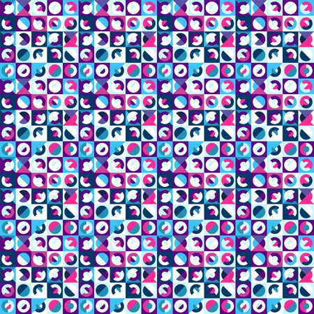 Seamless geometric pattern, saturated bright colors. Appropriate for fabric materials, packing materials, websites. Sample is added to swatches panel.