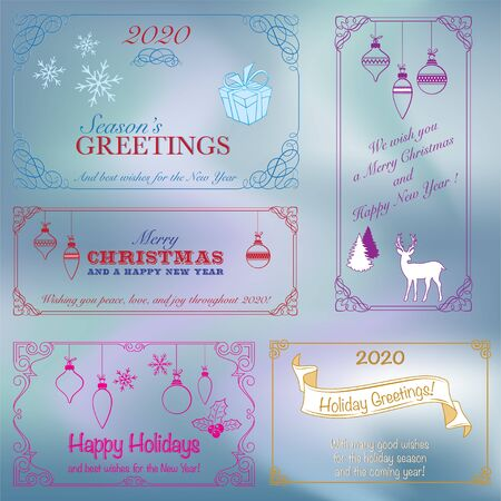 Set of ornate frames. Vignettes, decorative lettering, Christmas elements and wishes. Blue background looks like northern light.