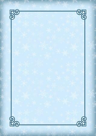 Decorative winter framework. Snowflakes on background and ornate border.