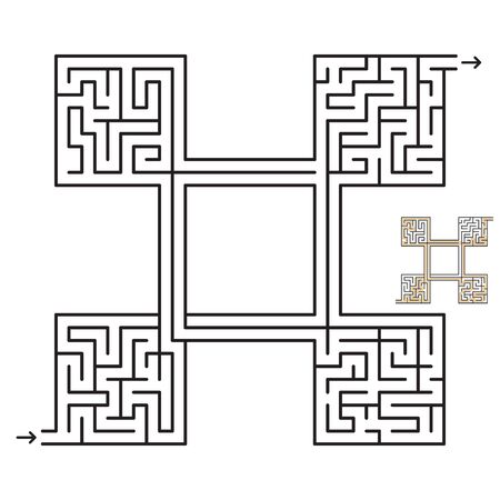 Maze game with solution. For kids and adults. Иллюстрация