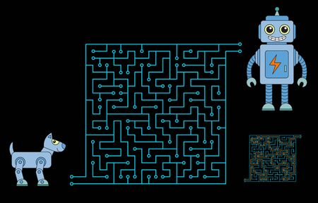 Maze game for kids and adults. Help to robot-dog get to his friend robot. Solution is included.