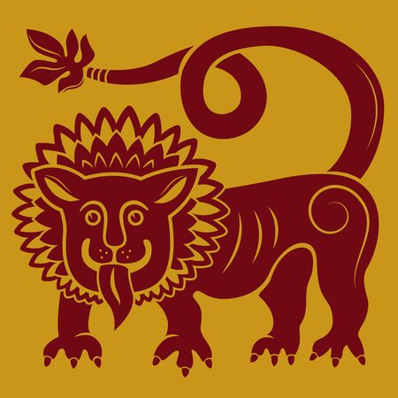 Illustration of a mythical lion. Red and golden colors, tattoo. 矢量图像