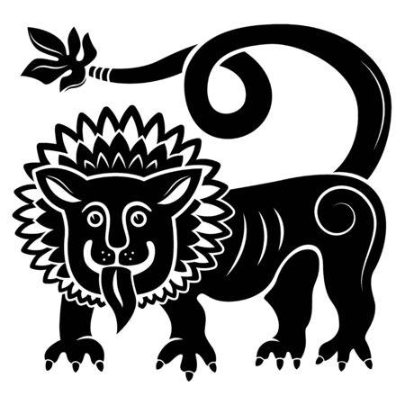 Illustration d'un lion mythique. Couleur noire, tatouage.