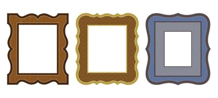 Set of various carved frames. Imitation of woodwork and metal. Decorative textures are easily removable.